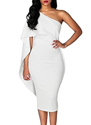 Bdcoco Women's Ruffle One Shoulder Cape Cocktail Party Bodycon Midi Dress(7 Colors)