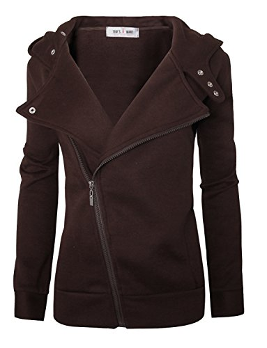 Tom's Ware Women Slim fit Zip-up Hoodie Jacket TWHD1003-BROWN-L