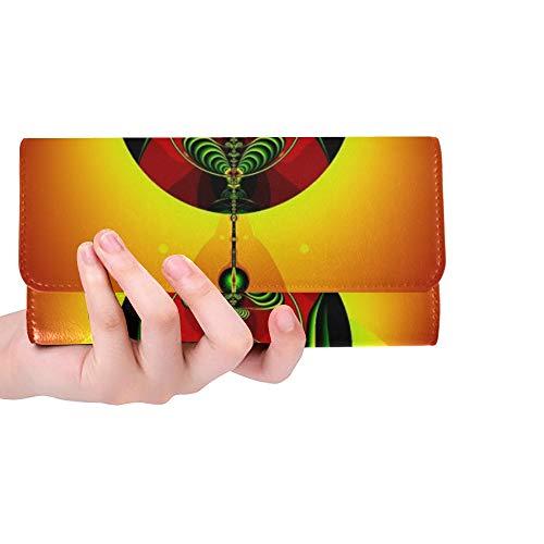 Unique Custom Digital Art Artwork Colorful Poster Fractal Design 1442735 Women Trifold Wallet Long Purse Credit Card Holder Case Handbag