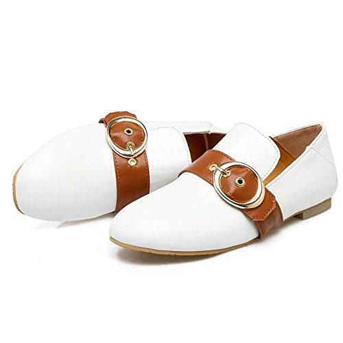 COOLCEPT Mujer Moda Correas Hebilla Belt Bombas Zapatos Acento Irlandes Zapatos Blanco