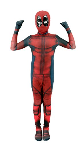 Kids Unisex Lycra Spandex Zentai Halloween Cosplay 3D Style Costumes (FOR (Deadpool Boys Costume)