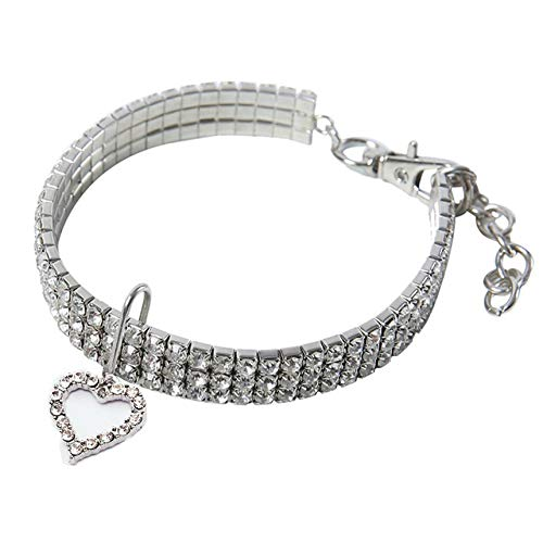 Heart Shaped Pet Necklace Dog Chain Cat Crystal Love Collar Pet SuppliesWhite ()