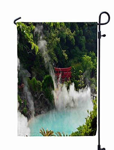 (Shorping Season Garden Flag, 12x18Inch for Holiday and Seasonal Double-Sided Printing Yards Flags Umi jigoku Sea Hell Cyan hot Spring Beppu Japan)