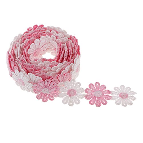 Prettyia 3 Yards x 25mm Vintage Daisy Lace Ribbon Floral Lace Trims Crocheted Lace Trim Sewing Decorative Applique for Dressmaking Edging Trimmings - 4 Colors - Pink White