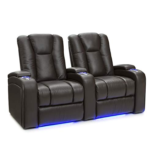 Seatcraft Serenity Leather Home Theater Seating Power Recline with In-Arm Storage, Lighted Cup Holders, and Ambient Base (Row of 2, Brown)
