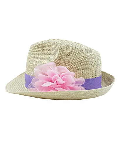 RuffleButts Infant/Toddler Girls Fedora with Flower - Natural/Purple - 12-24m (M)
