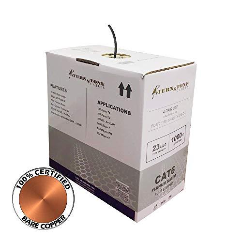 CAT6 Plenum Cable 100% Bare Copper 1000ft Bulk Ethernet Network Wire (Black) (Plenum Ethernet Cable)