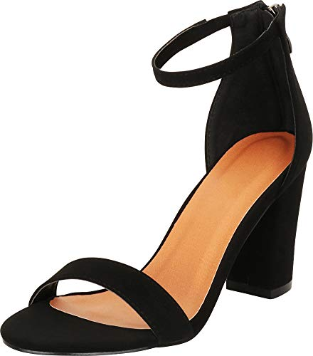Cambridge Select Women's Open Toe Single Band Stretch Ankle Strappy Chunky Stacked Block Heel Sandal (6 B(M) US, Black NBPU)