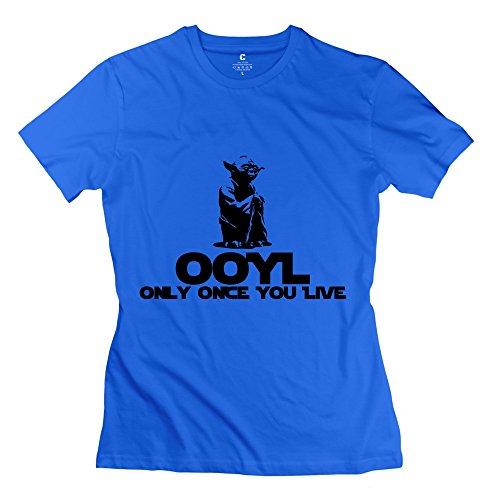 FQZX Women's KCCO STARWARS Yoda OOYL Funny T Shirt X-Large RoyalBlue (Yoda Bowl)
