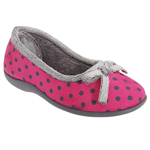 Bow Louise Pink Womens Slippers Sleepers Polka Ladies Dot wzgXXfSq