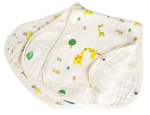 Baby Burp Cloth Bib Value Packs -made with 6 Heavyweight Soft Layers of 100% Organic Cotton 3 Gender Neutral Unisex Animal Patterns for Boys or Girls Perfect Shower Gift Set- Newborn to Toddler ()