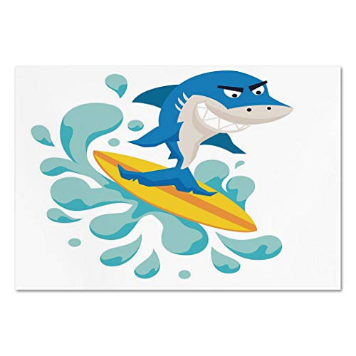 Large Wall Mural Sticker [ Ride The Wave,Funny Shark Surfing in the Ocean Athletic Fish Graphic Art Decorative,Violet Blue Turquoise Yellow ] Self-adhesive Vinyl Wallpaper / Removable Modern Decoratin