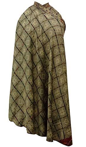 Indianbeautifulart Les Femmes Check Imprimer Pure Soie Vintage Saree rversible Rouge Wrap Summer Beach Dress Vert Grisatres