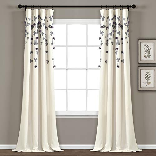 Lush Decor Curtain Flower Drop Window Panel (Single), 84 x 42, Purple and Ivory