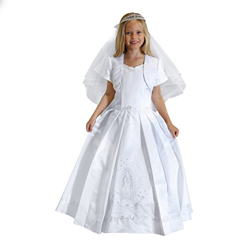 Angels Garment Big Girls White Satin Sequin Pearl Bolero Communion Dress 12 by Angels Garment