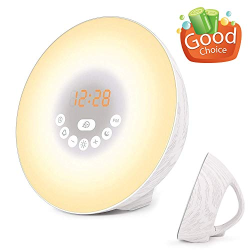Sunrise Alarm Clock, Wake Up Light with 7 Nature Sounds, Digital Clock, FM Radio and Touch Control, Snooze Function