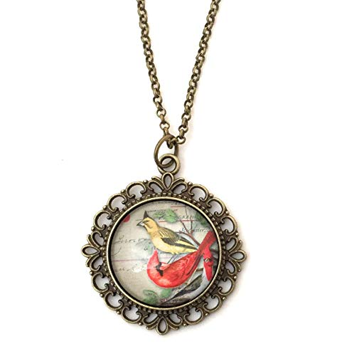 Cardinal Necklace - Vintage Image - Gift for Women - Handmade
