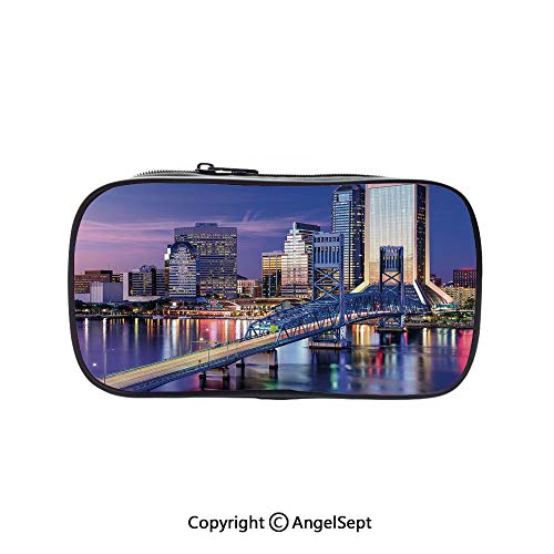 Pencil Holder with Handle Strap Handy Colored,Urban Cityscape Bridge Office Buildings Jacksonville Florida Violet Blue Light Pink Tan 5.1inches,Large Capacity Students Stationery ()