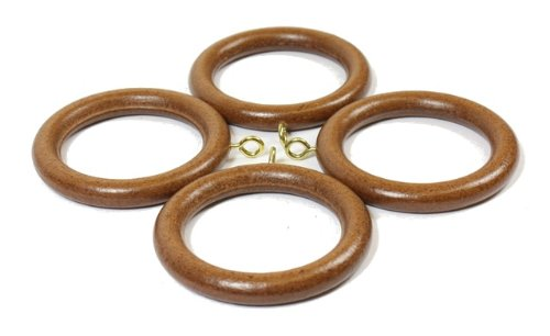 4 x Walnut Wooden Curtain Pole Rings 35mm NEW