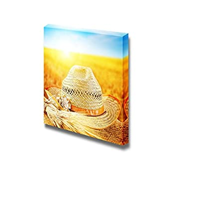 Canvas Prints Wall Art - Wheat Field and The Hat of a Farmer Autumn Harvest Concept | Modern Wall Decor/Home Decoration Stretched Gallery Canvas Wrap Giclee Print & Ready to Hang - 24