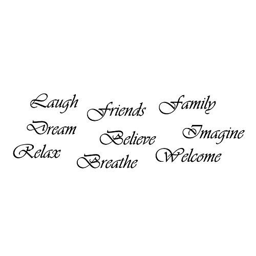 VINYL DECAL HOME WALL SIGN -9 Word Set- Dream, Imagine, Relax, Believe, Friends, Welcome, Breathe, Laugh, Family -perfect on your family wall /gift. Easily installed removable no damage to your walls (Friends Decal Set)