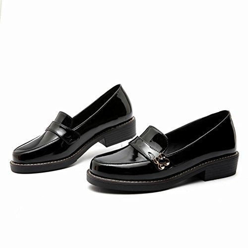Charm Foot Womens Comfort Low Heel Patent Leather Loafers Shoes Black DkQys3