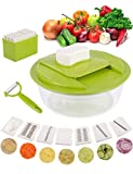 Kurtzy Grater Hand Slicer for Vegetable Fruits Cutter Chopper Shredder Dicer with Steel Blades with Bowl for Kitchen 5 in 1