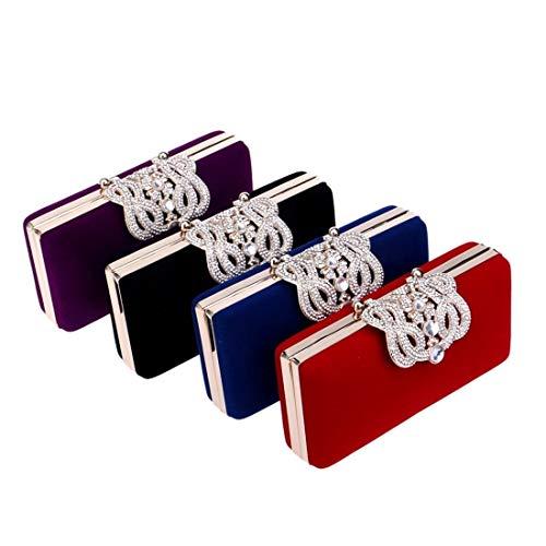 Las De Púrpura Rojo Noche Embrague Tamaño Señoras Corona Azul Manera La color Banquete Vestido Moontang color Cena Bolso Aqx5w881B