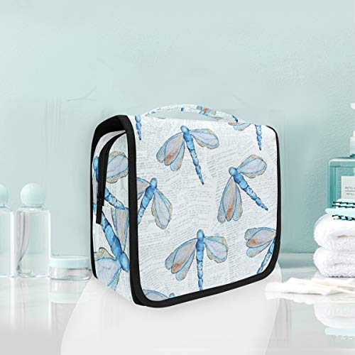 (Makeup Cosmetic Bag Dragonfly Pattern Portable Storage Travel Toiletry Bag)