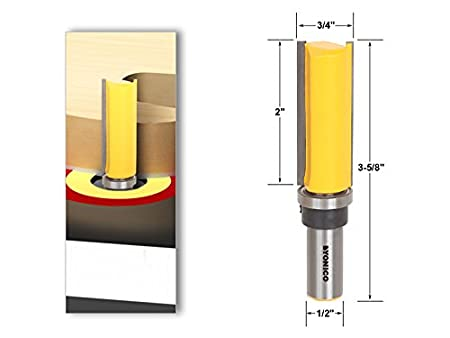 Yonico 14176q Template Trim Hinge Mortising Router Bit 3//4 Wide x 1//4 High 1//4 Shank