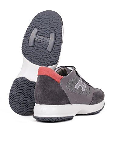Hogan Hombre HXM00N0Q102CX1639H Gris/Rojo Cuero Zapatillas