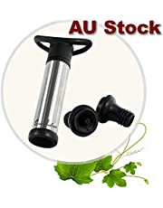 Wine Saver Pump Wine Pump, Wine Vacuum Pump and Stopper, Wine Pump Vacuum Stoppers,Wine Essentials Gift Pack Wine Preserving Pump W/2 Stoppers-Black