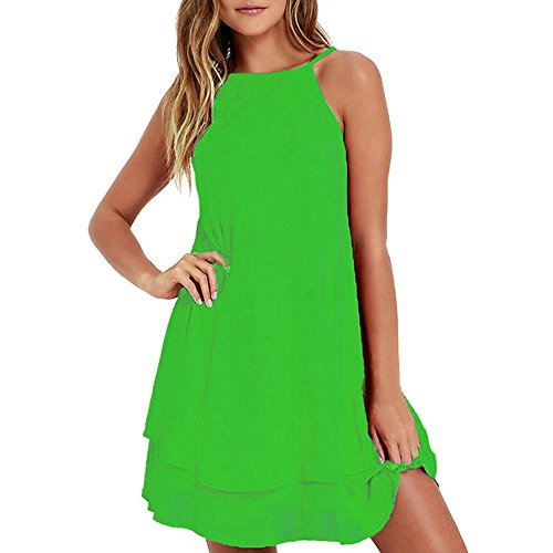 HGWXX7 Women Summer Casual Plus Size Solid Chiffon Strap Beach A-Line Mini Dress (S, Green-1) (Sequin One)