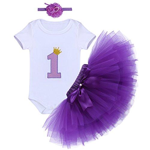 Baby Girls First Birthday Clothes One-Piece Bodysuit 1st