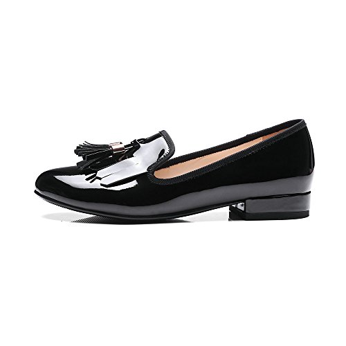 Oxfords Loafer AIWEIYi Heel Low Shoes Square Womens Black on Slip Shoes Tassel rrxYX5qz