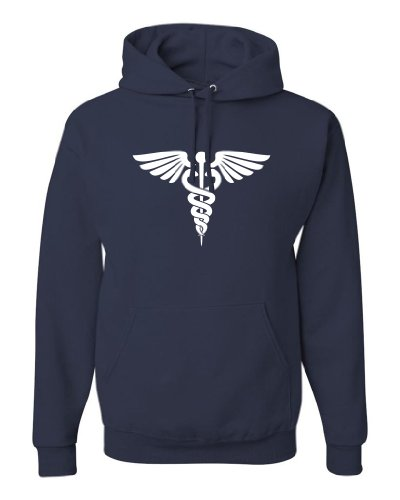 Sweatshirt Assistant Hooded (ShirtLoco Men's Caduceus Hoodie Sweatshirt, Navy Blue Large)