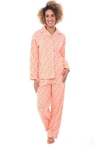 Alexander Del Rossa Womens Woven Cotton Pajama Set with Pants, Long Sleeve Button Down Pjs, Large Pink and White Polka Dot (A0517V22LG)