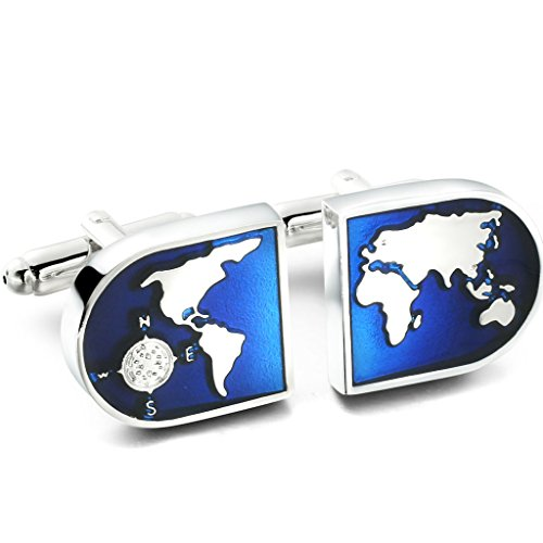 Jstyle+Jewelry+Men%27s+World+Map+Shirts+Cufflinks%2C+Wedding%2C+Color+Blue+Silver%2C+1+Pair+Set