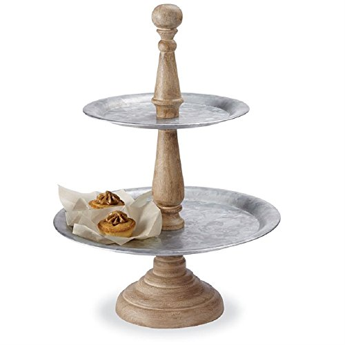Mud Pie 42600025 Farmhouse Inspired Wood and Tin Serving Pedestal Tiered Server, One Size, Brown/Silver