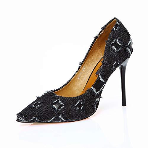 FLYRCX Personalidad Mezclilla Costura Moda Color a Juego Tacones Tacones Tacones Altos señoras Estilete Elegante Solo Zapatos Zapatos de Trabajo Zapatos al Aire Libre, 38 UE, A 3fe0d5