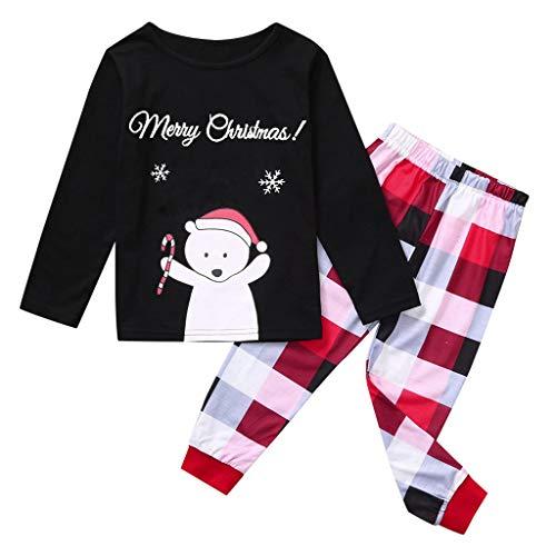 MoonHome Christmas Parent-Child Wear Cartoon Snowman Print Shirt T-Shirt + Plaid Printed Pants Home Service Suit