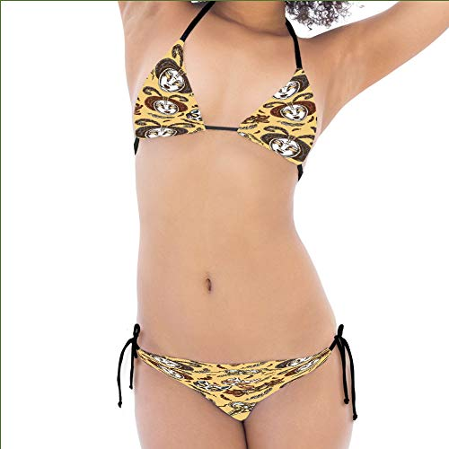 iPrint Fashion Bikini,Mache Face Mask Feathers Dance Event Theme Female,Personalized Design