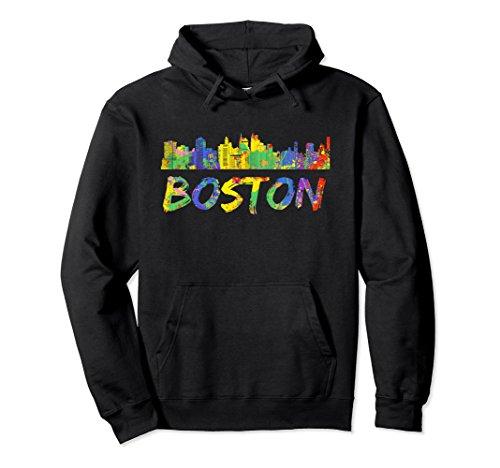 Unisex Boston Hoodie Massachusetts Skyline Paint Splash Sweatshirt 2XL Black Boston Design Studio