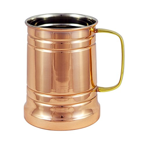 Old Style Beer Mug (German Style Hammered Copper Beer Stein - 100% Pure Heavy Gauge Copper Beer Mug - 20 oz)