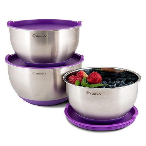 3 Piece Mixing Bowl Set by CuisineFx. Professional Kitchen Grade Bowls Made of Stainless Steel with Silicone Non-Slip Bottoms, Protective Lids and Volume Measuring Markings, 3QT, 4QT, 5QT