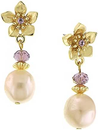 Gold-Tone Purple and Pink Simulated Pearl Flower Drop Earrings