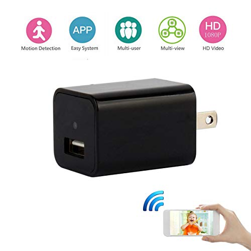 WiFi Hidden Camera Spy Wall Charger Camera Mini Wireless Adapter Nanny Cam for Home Security with Motion Detection