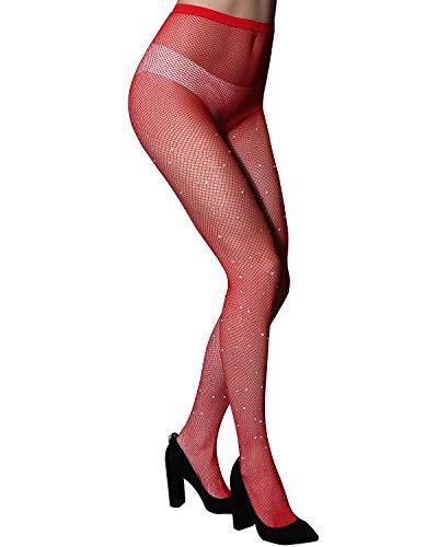 Fishnet Design (CHRLEISURE Women's Sparkle Rhinestone Fishnets Sexy Tights High Waist Stockings Red)