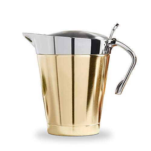 VonShef Brushed Gold Gravy Boat, Double Insulated Jug with Hinged Lid Ideal Thanksgiving Pourer for Gravy or Cream, Stainless Steel, - Boat Sauce Gold