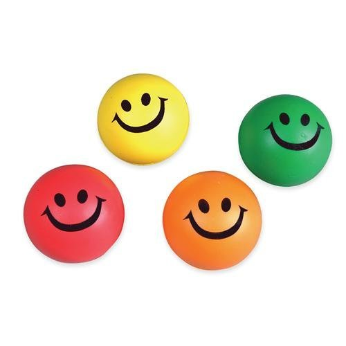 12 Smile stress squeeze balls - assorted color 2.5 inch